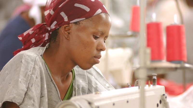 A textile worker at work, Lesotho