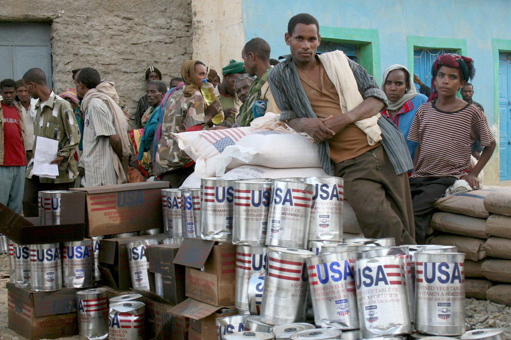 Villagers in Ethiopia's Tigray region await a distribution of U.S. food aid in April 2010