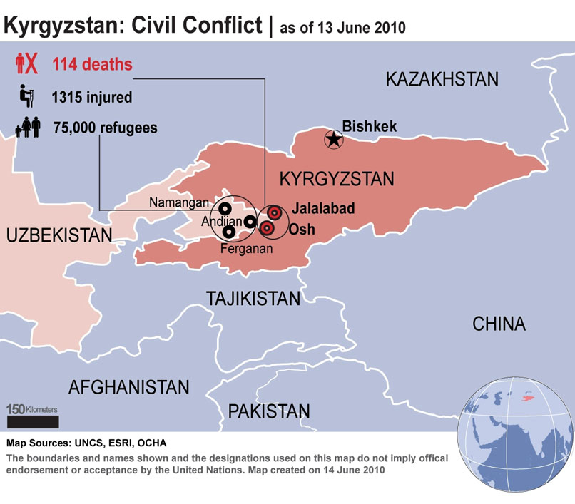 Kyrgyzstan civil Conflict as of 13 Jun 2010