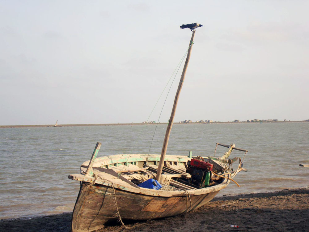 Rickety boats are the only means to get from Khariyo Village, an island in the Indus river delta, to the small impoverished town of Keti Bandar