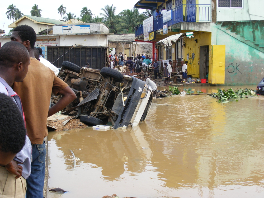Flooding in Swedru Township, Ghana. June 2010