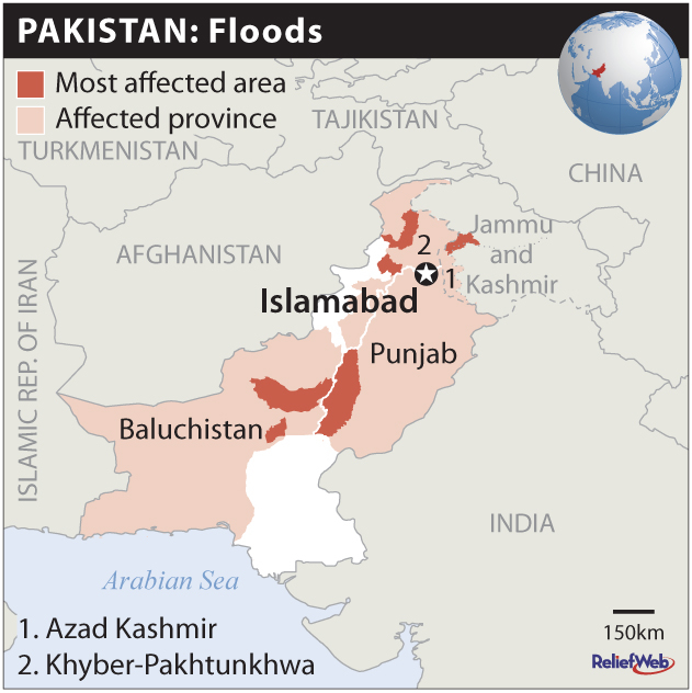 Floods caused by heavy rains have affected Azad Kashmir, Baluchistan, Khyber-Pakhtunkhwa and Punjab