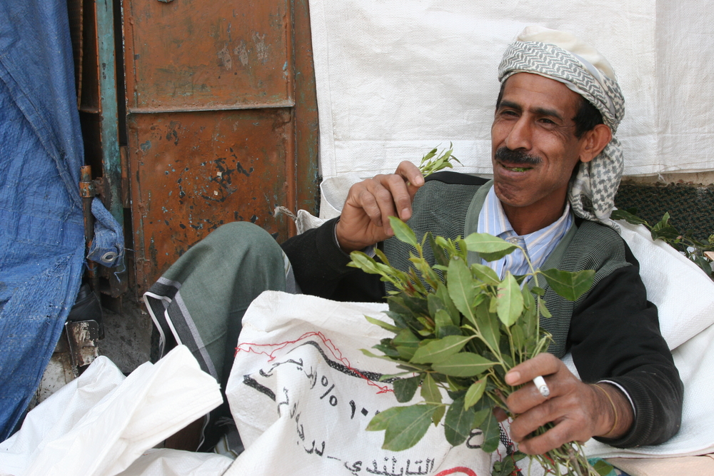 Man enjoying his qat in Sana'a, Yemen