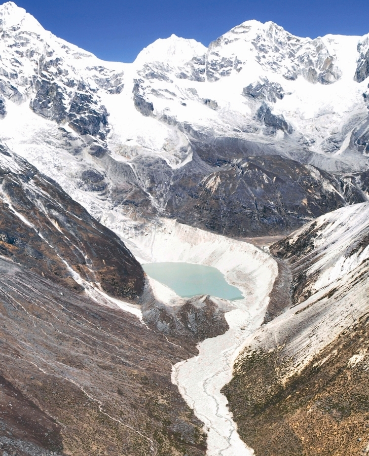 The flood impact zone of the Dig Tsho glacial lake, which burst its natural damn in August 1985 after being hit by an ice avalanche, can still be seen today.   Credit: Sharad Joshi, ICIMOD, 2009