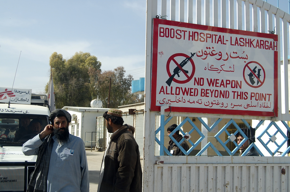 A no-weapon sign outside an MSF hospital in Helmand, Afghanistan