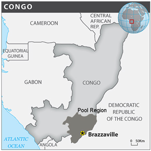 Map showing the Pool region in the Republic of Congo. Based on OCHA/ReliefWeb