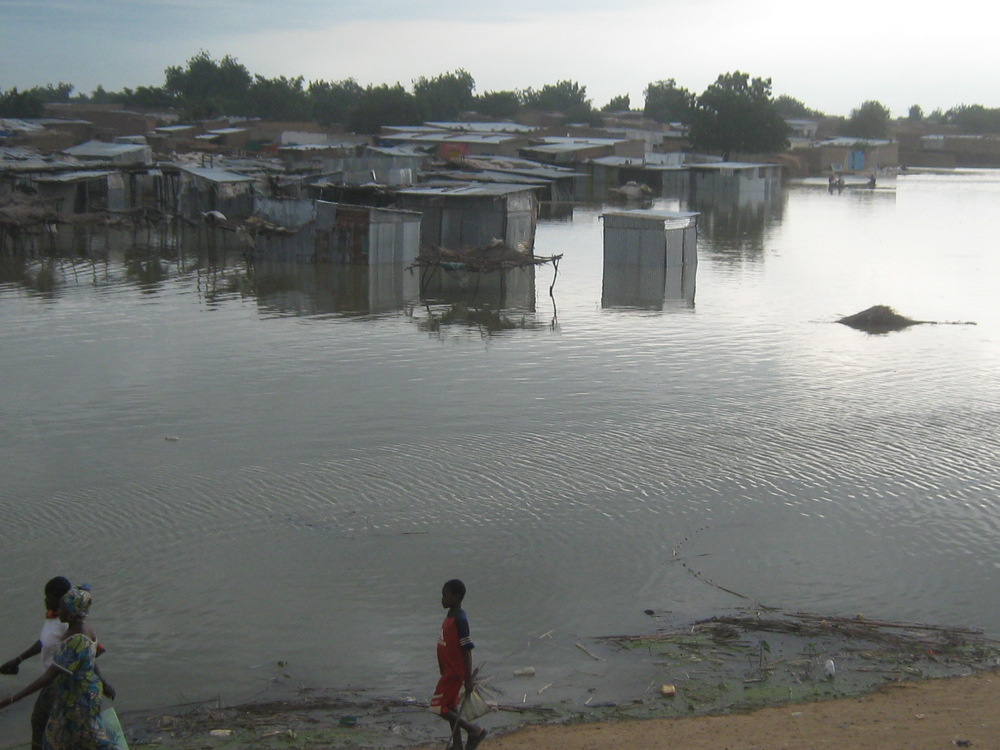 An area of the Chad capital N'djamena under water after the Chari River burst its banks. October 2010