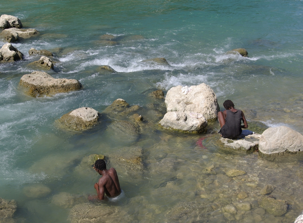 People in the Artibonite River, Haiti. November 2010
