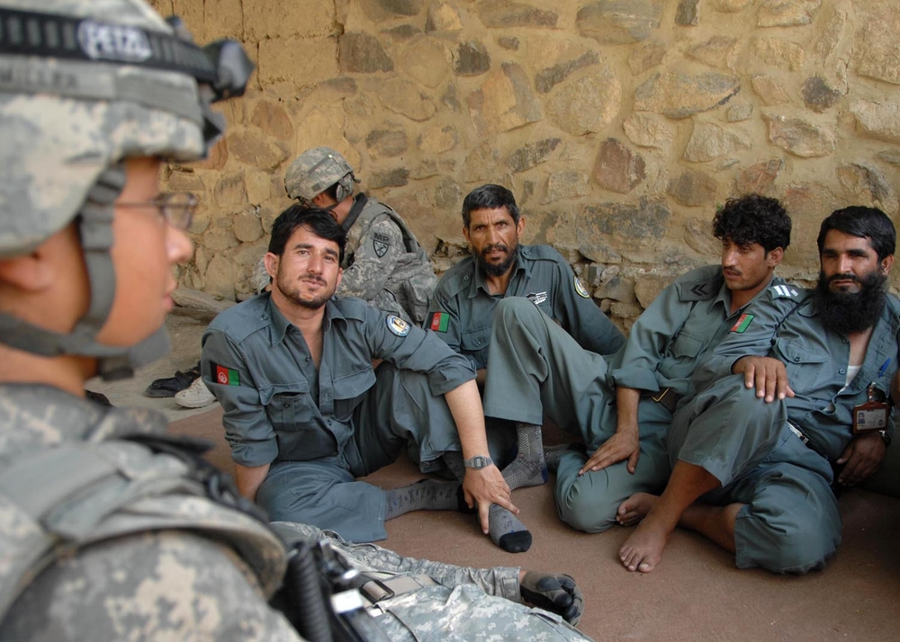 Afghanistan National Police receive training from US Army personnel