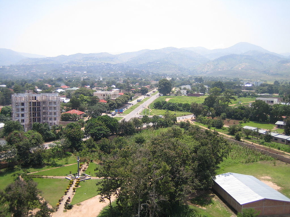 View of Bujumbura, Burundi, looking east from the cathedral spire