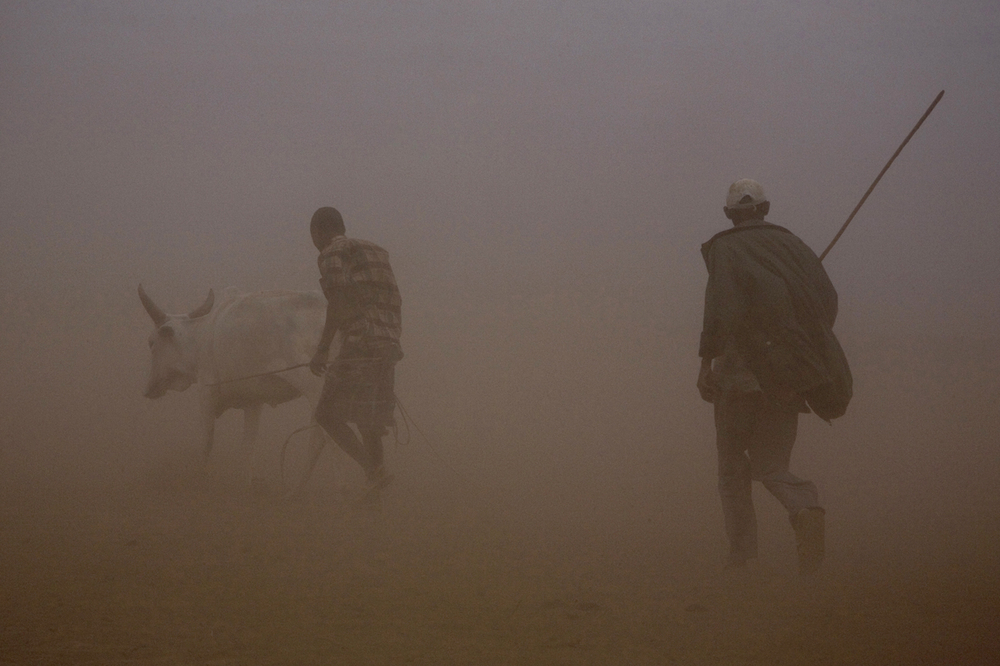 Herders walk through a sand storm in an arid landscape near the border town of Moyale in northern Kenya