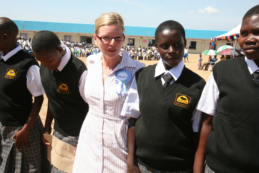 Marta Krajnik, country director of the Women's Institute for Secondary Education and Research, with some of the girls who joined the institute on 4 February 2011 in Muhuru Bay, Nyanza Province