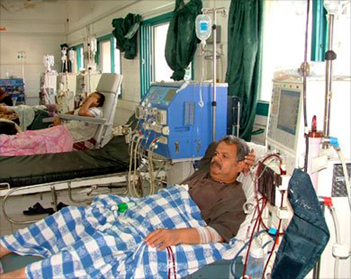 Patients receiving kidney dialysis at As-Shifa hospital, Gaza's primary hospital