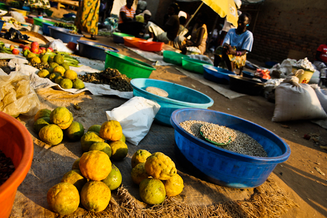 Produce for sale at the market in Yei, Central Equatoria State, South Sudan