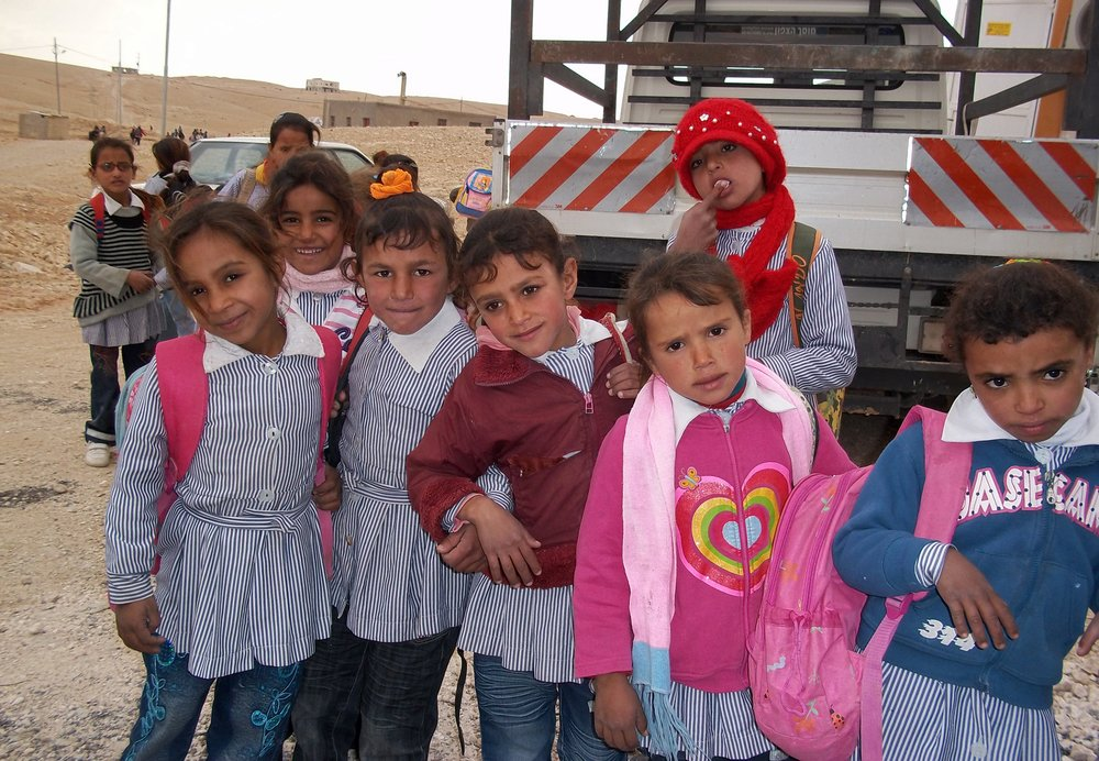 Palestinian school children gather in Khashem ad-Daraj in south Hebron. Only two families and the elementary school are connected to a water network in this Area 'C' community