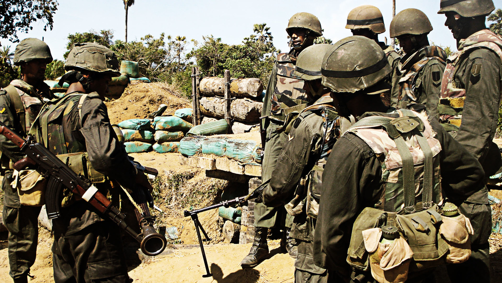 Sri Lankan forces in the final days of the decades-long civil war. Close to 300,000 people were displaced by the conflict which officially came to an end on 18 May 2009