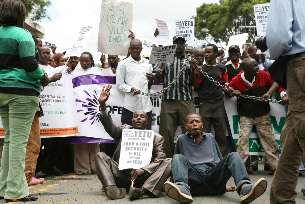 Hundreds of Kenyans took to the streets to pressure the Kenya government to take action against rising fuel prices. April 2011