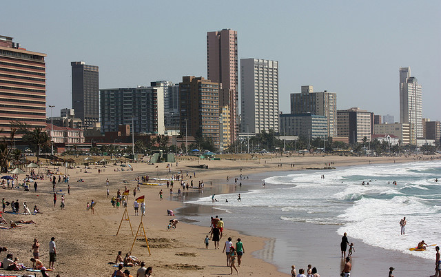 Durban beachfront from Ushaka beach