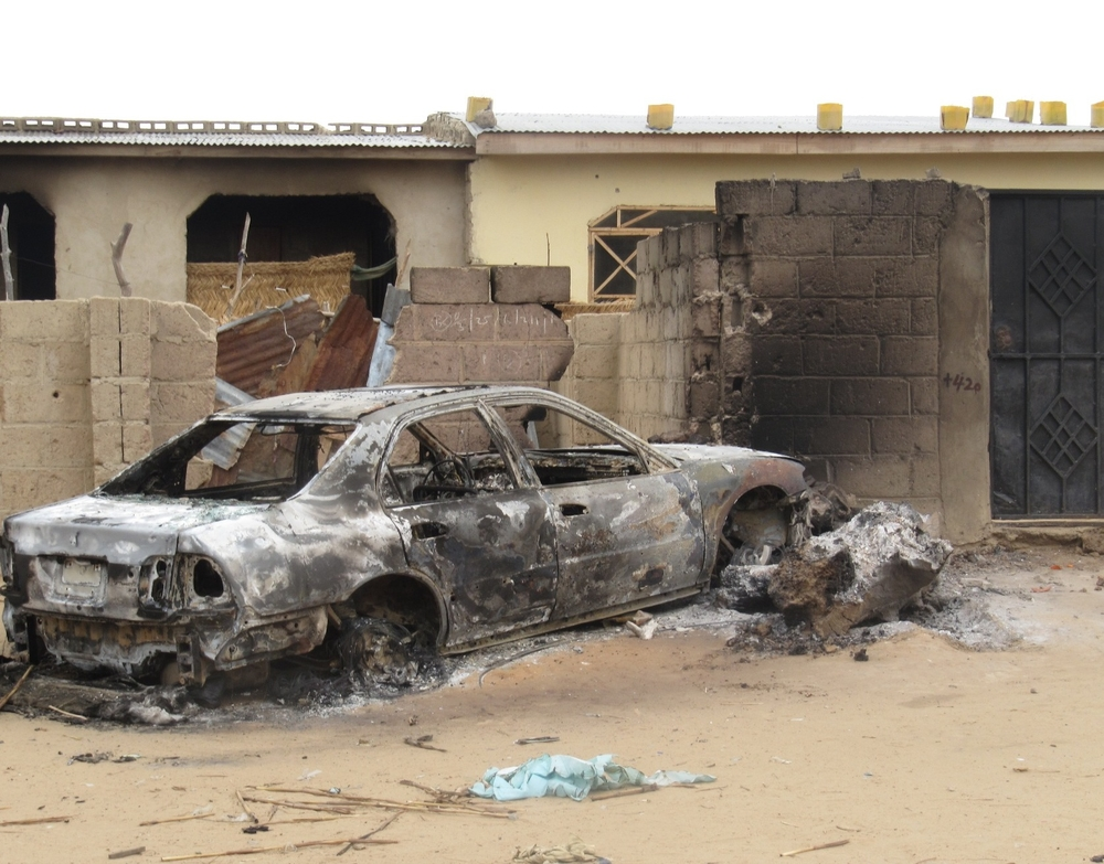 A car that was burnt during the crackdown on Boko Haram in July 2011