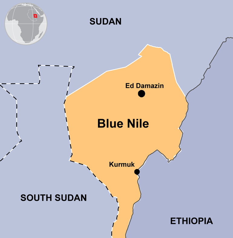 Map showing Blue Nile