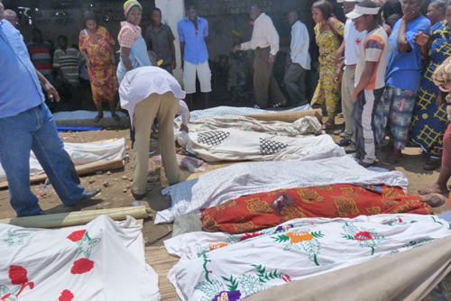 Victims of a massacre carried out in a bar in the Burundian town of Gatumba on 18 September 2011. While the scale of this attack was unprecedented in recent years, killings are reported almost daily in Burundi