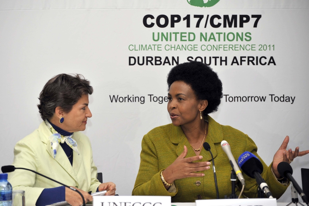 South African Minister of International Relations and Cooperation  Maite Nkoana-Mashabane with UNFCCC Executive Secretary Christiana Figueres during a press conference after a Pre COP17 Ministerial meeting in South Africa