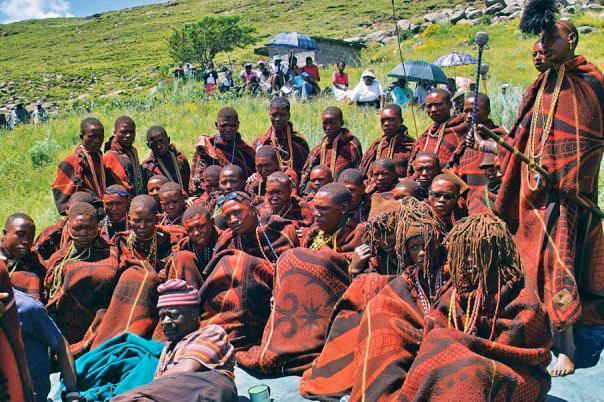 Basotho boys, some as young as 12, spend three to four months at initiation schools in the mountains before attending graduation ceremonies like this one