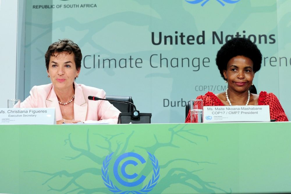 After the deals were done a tired UNFCCC Executive Secretary Christiana Figueres and COP17|CMP7 president, Mininster Maite Nkoana-Mashabane address the last press briefing in the early hours on 11 December