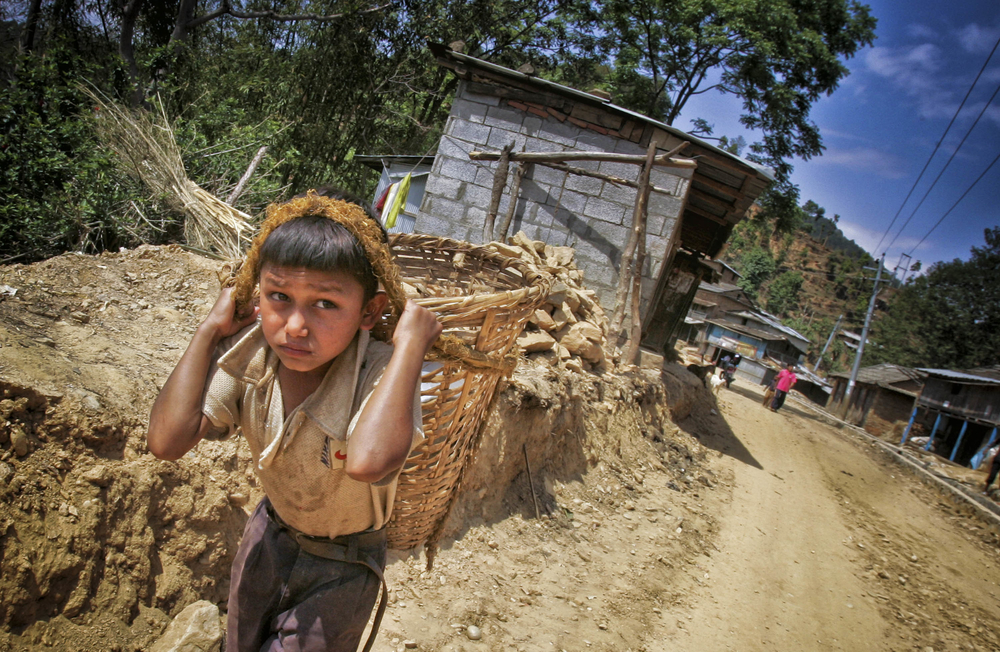 A young boy works as a labourer near Kathmandu. One out of six children in the world today is involved in child labour, UNICEF says