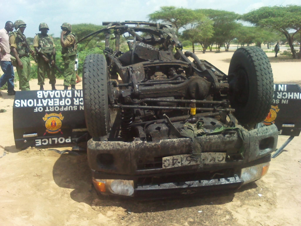 One policeman was killed when a roadside bomb exploded in Dabaab, a refugee complex in eastern Kenya, in late December 2011