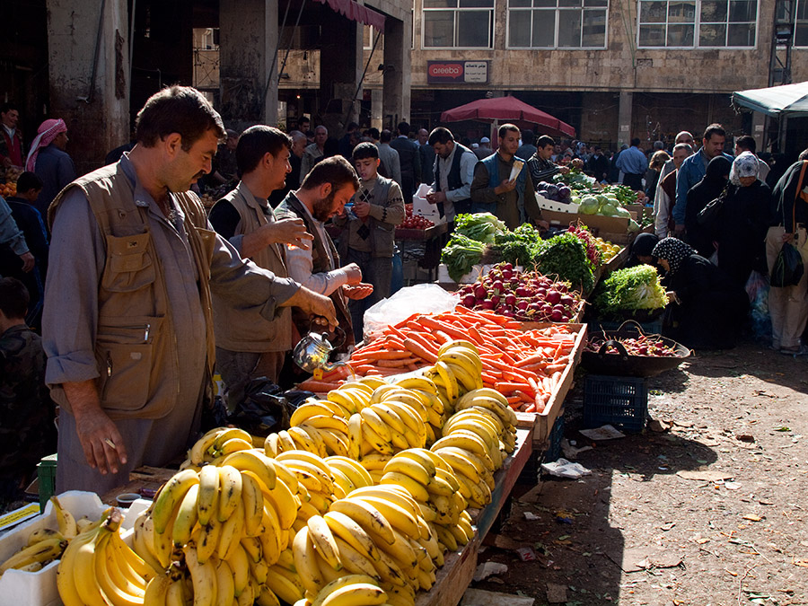 Market in Halab, Syria. The FAO says the 2011-2012 unrest in Syria has led to localized shortages in certain markets