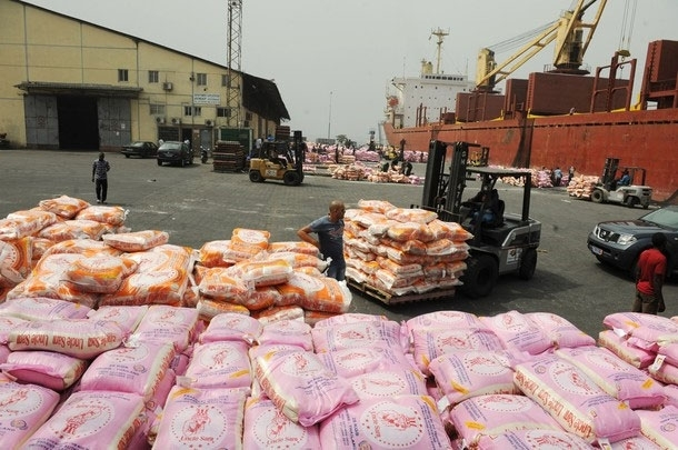 Rice prices in Cote d'Ivoire are still very high, but government attempts to fix prices are being resisted by traders. Imported rice at the port in Abidjan