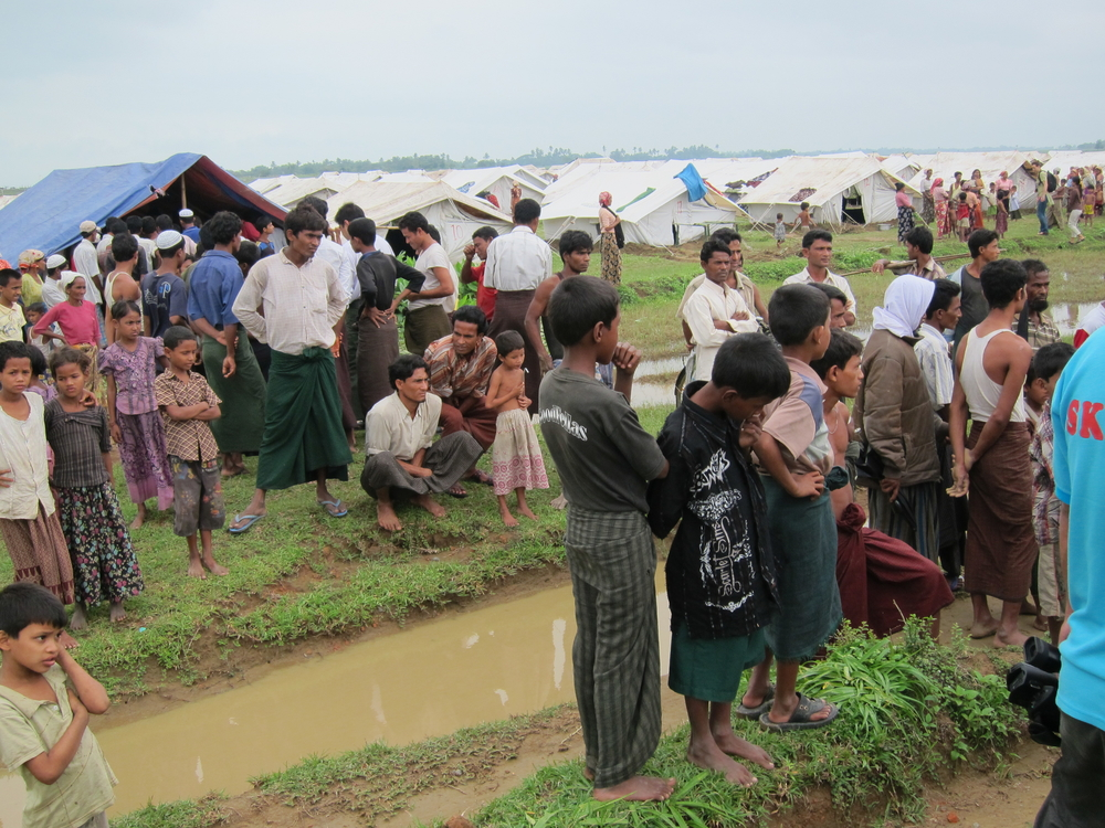 A group of Rohingya displaced in northern Rakhine State. Thousands were displaced following communal violence in June 2012