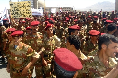 Members of Yemen's army protest against its divided leadership. Part of the army are controlled by former President Ali Abudllah Saleh; while others are controlled by Gen. Ali Mohsen, a military commander who defected in March 2011