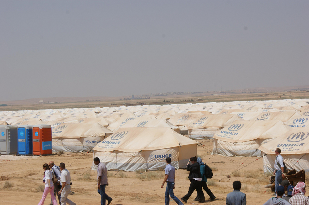 Located in a windswept desert, the new Za'atri camp in northern Jordan can eventually host up to 113,000 refugees. July 2012