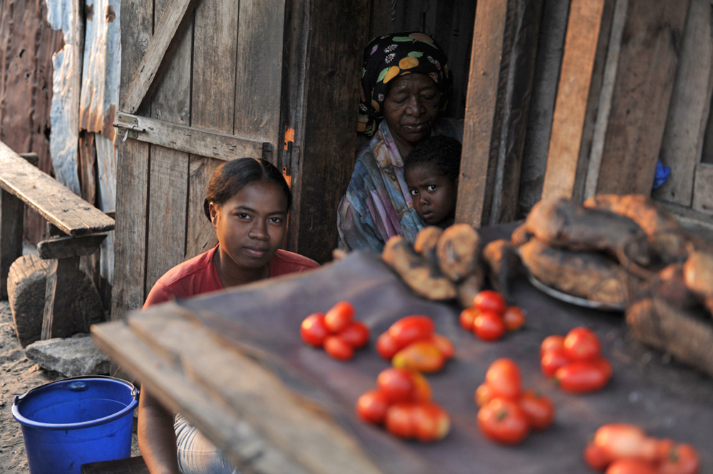 A family lays out their stall in Madagascar's south east port town of Taolagnaro, previously known as Fort Dauphin