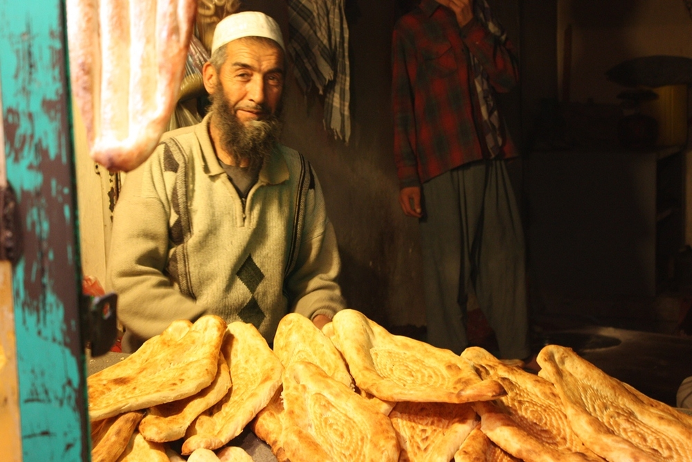 A bread shop on Jalalabad Road, in Kabul, Afghanistan. Bread is not fortified in Afghanistan, and many suffer from malnutrition. Taken in January 2012
