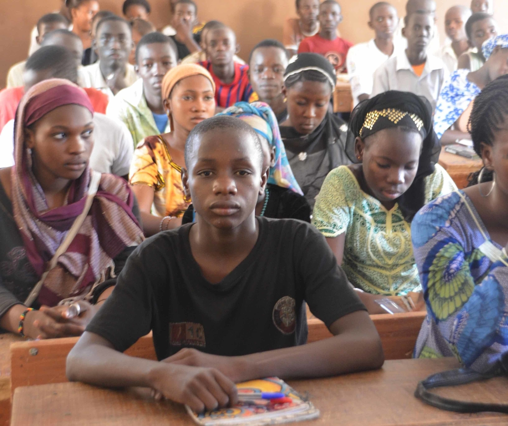 The Robert Cisse Academy secondary school in Mopti (September 2012) where hundreds of children are taking remedial classes after leaving the north, where their public schools have closed
