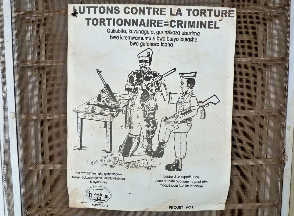 Poster outside human rights activists office in Bujumbura