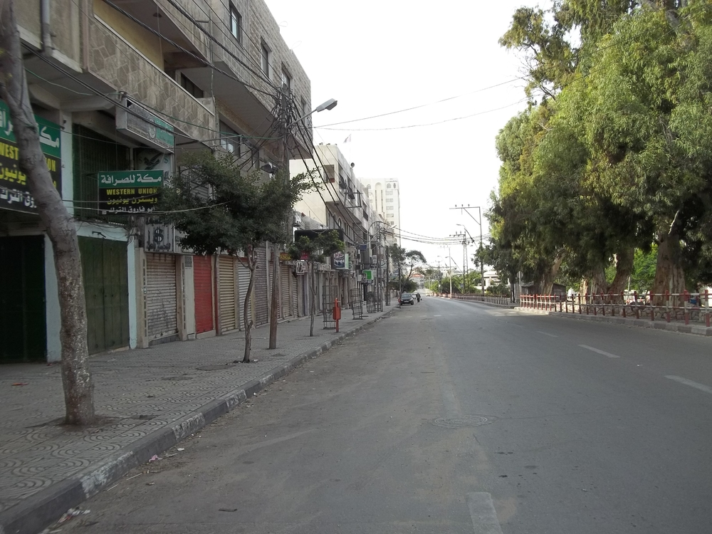 Empty closed shops in Omar Mukhtar St, Gaza City