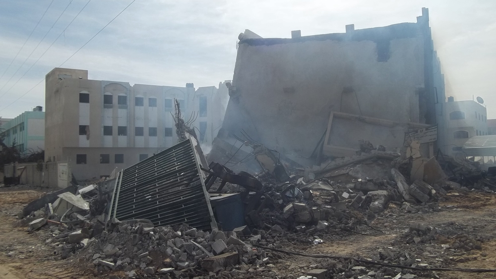 The building of Ministry of Interior, civil division-Gaza bombed Thursday night