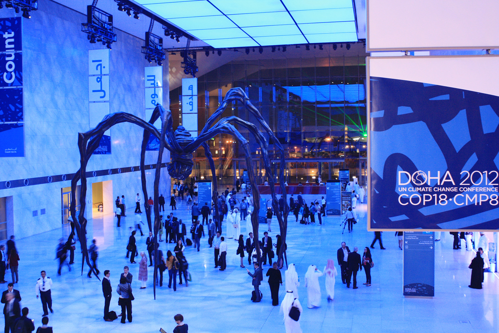 "The Qatar National Convention Centre in Doha is teeming with life during the second week of the COP18. The sculpture named ""Maman' by famous American artist Louise Bourgeois seen here is quite a talking point"
