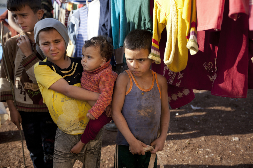Children at Atma camp for displaced Syrians near the Turkish border. . Atme has become the temporary home to more than 10,000 people who have fled the violence as war flared in Syria