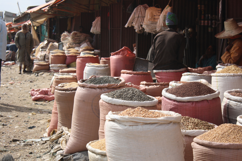 Ihil Berenda, the wholesale grain market in Addis Ababa, Ethiopia