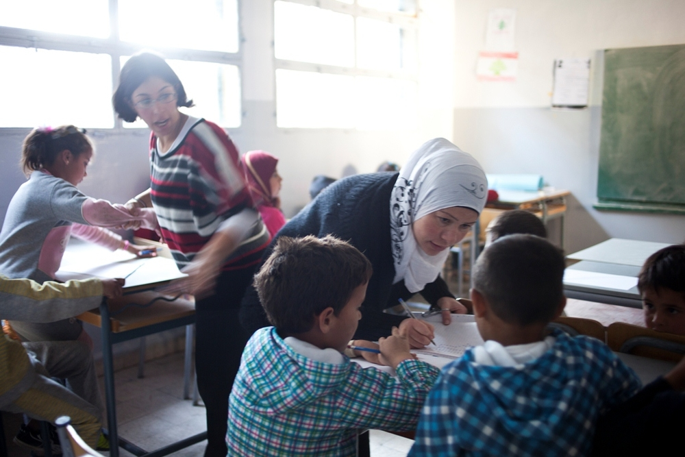Syrian children partipate in a psycho-social after-school program run by the NGO Terres des Hommes. At least 1,800 Syrian familes are currently seeking shelter in Arsal, a predominantly anti-regime Sunni Muslim town in Lebanon's Beka'a Valley.