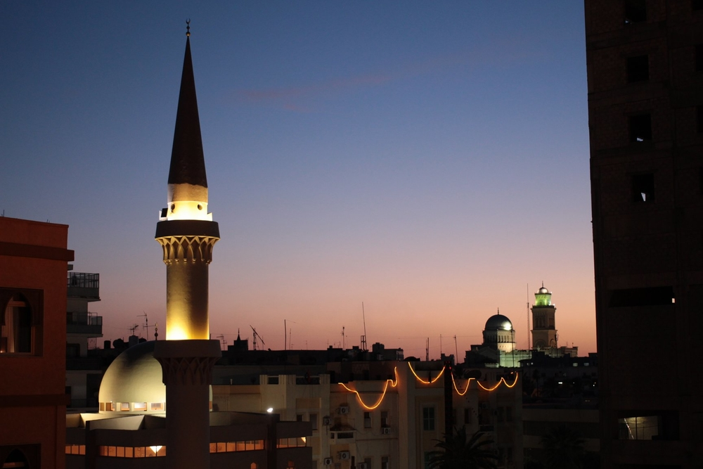Skyline in downtown Tripoli, mosque tower, Feb 2013