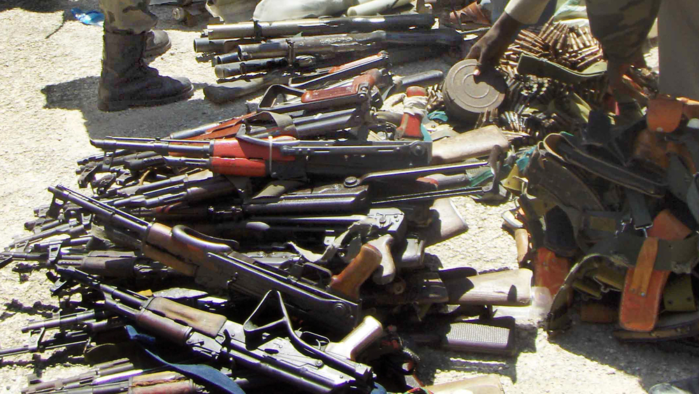 Weapons handed in by Somali businessmen, Mogadishu (file photo)