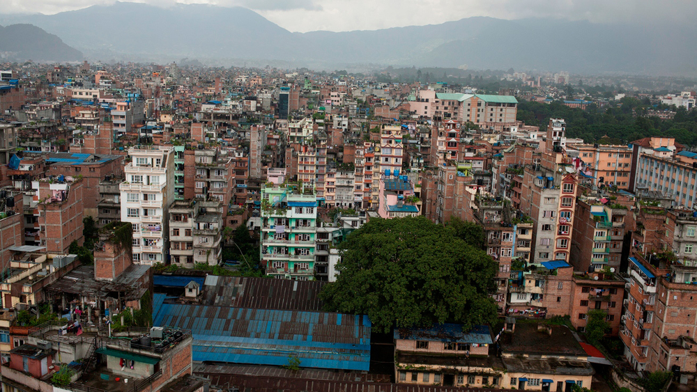 City landscape of Kathmandu, Nepal, located in a seismically active area that is predicted to soon be devastated by a large, deadly earthquake