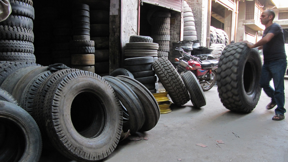 Police patrols in Lahore, Pakistan, fine those caught keeping car tyres on the street. Tyres holding puddles of water make an ideal breeding ground for mosquitoes carrying diseases like malaria and dengue fever. (May 2013)