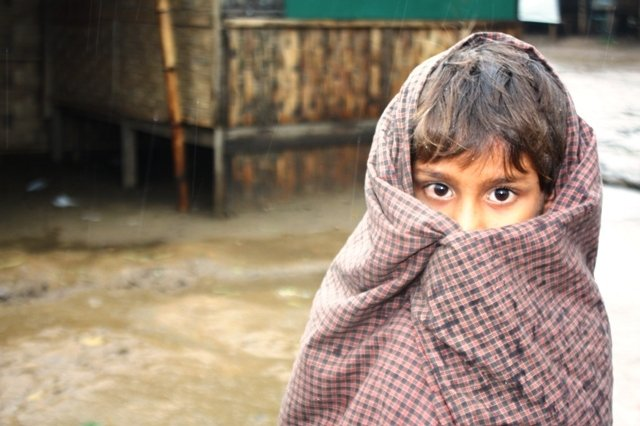 A young Rohingya girls takes shelter under a blanket at an IDP camp outside Sittwe in Myanmar's western Rakhine State. An estimated 140,000 people were displaced by sectarian violence in 2012, the vast majority of them Rohingya